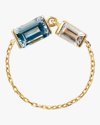 Yi Collection Topaz & Aquamarine Chain Ring 1