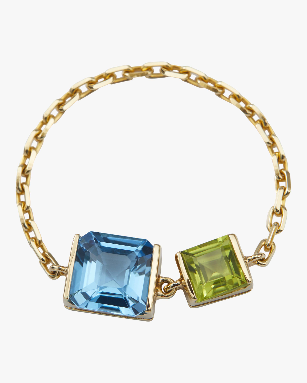 Yi Collection Topaz & Peridot Chain Ring 1