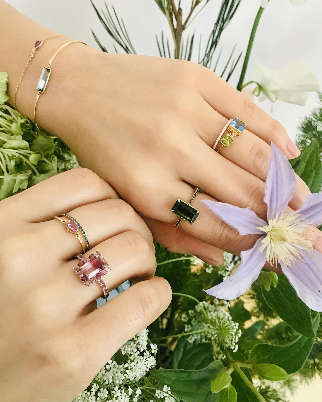 Yi Collection Topaz & Peridot Chain Ring 2