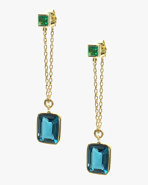 Yi Collection Emerald & Topaz Chain Earrings 2
