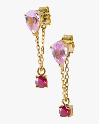 Yi Collection Pink Topaz & Ruby Chain Earrings 2