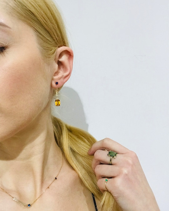 Yi Collection Sapphire & Citrine Earrings 1