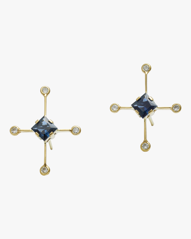 Sapphire & White Diamond Supernova Earrings