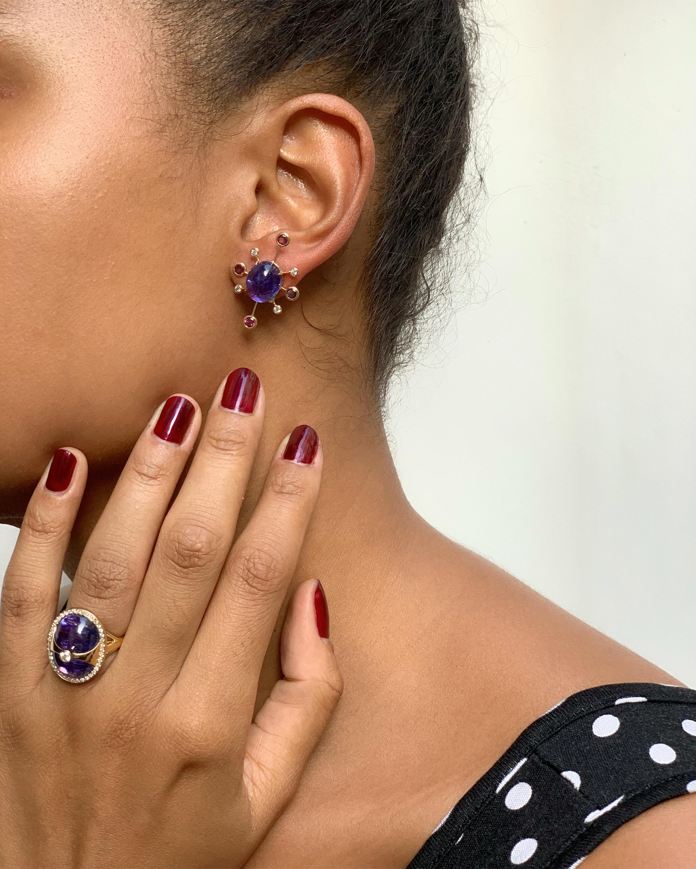 Yi Collection Tanzanite, Tourmaline & Diamond Supernova Earrings 2