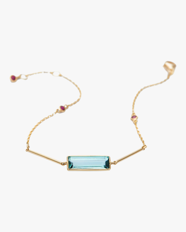 Green Tourmaline & Ruby Bar Bracelet