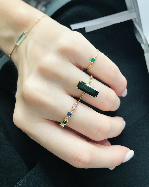 Yi Collection Emerald Petite Circle Ring 2