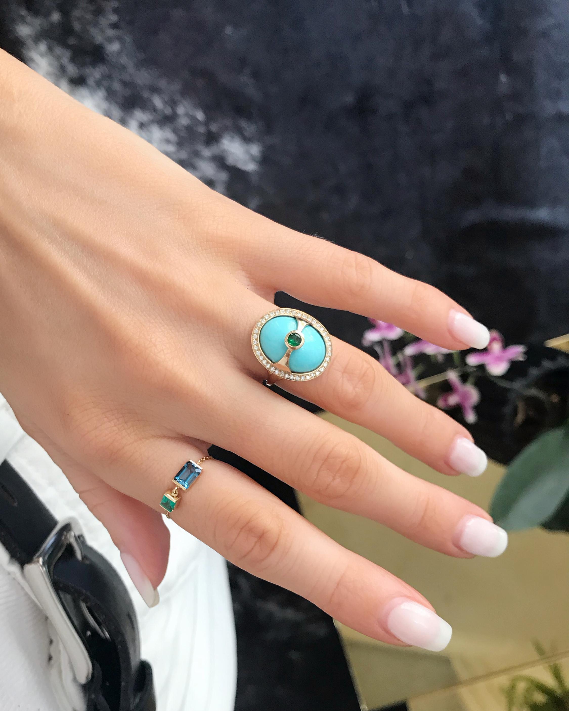 Yi Collection Turquoise & Diamond Eos Ring 2