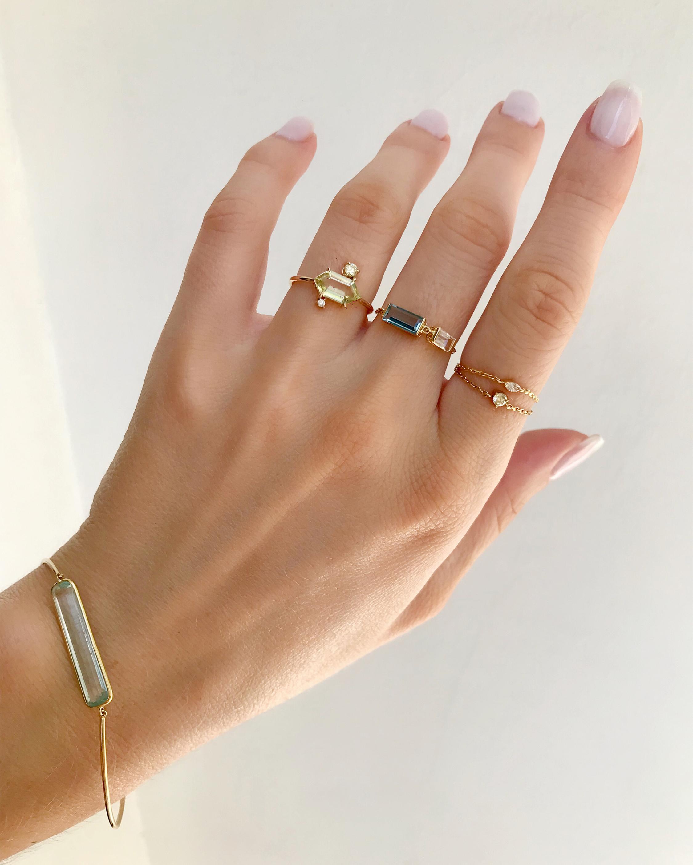 Yi Collection Yellow Aquamarine & Diamond Puzzle Ring 2