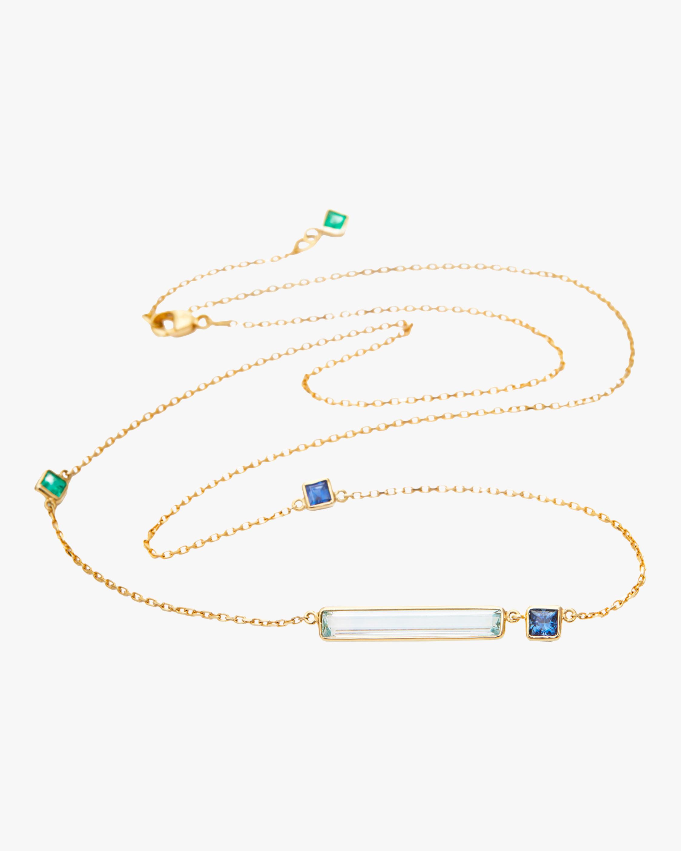 Aquamarine with Emerald & Sapphire Bar Necklace