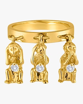 Wise Monkeys Charm Ring