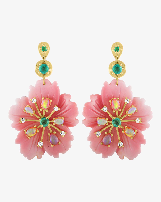 Pink Opal Flower Earrings
