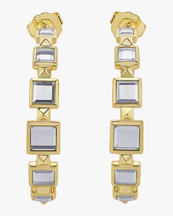 Isharya Limelight Pyramid Hoop Earrings 1