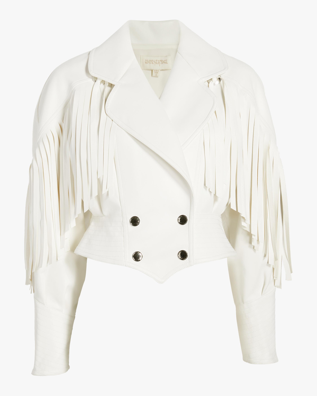 Vegan Leather Double-Breasted Fringe Jacket
