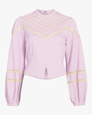 Divine Heritage Puff-Sleeve Lace-Accent Crewneck Top 1