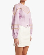 Divine Heritage Puff-Sleeve Lace-Accent Crewneck Top 3
