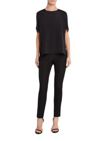 Silk Crepe T-shirt with Lace