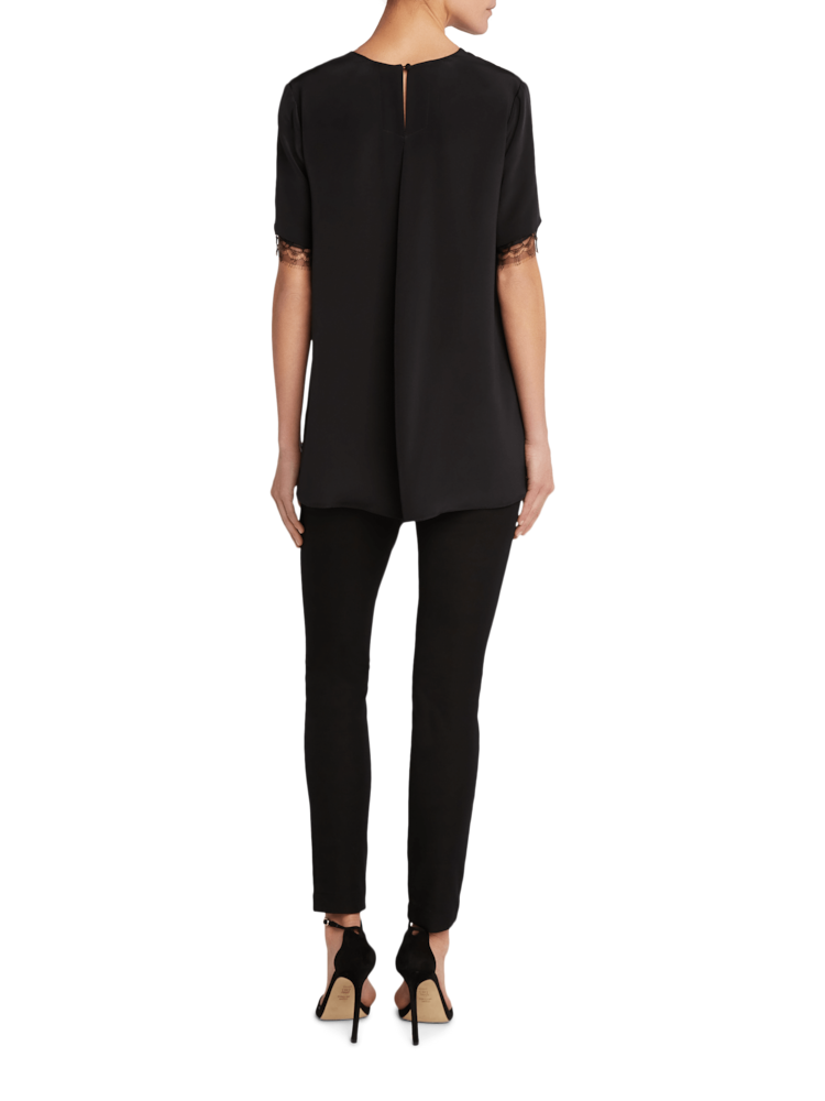 Silk Crepe T-shirt with Lace Adam Lippes