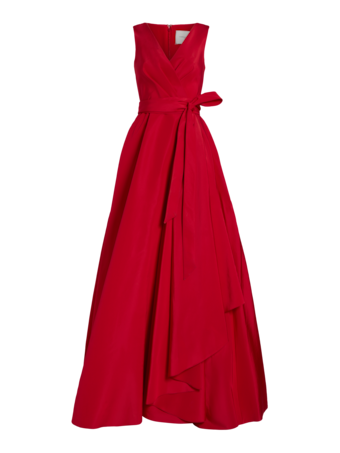 V-neck Side Ruffle Gown