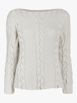 Tri-Cable Cashmere Sweater with Crew Neck