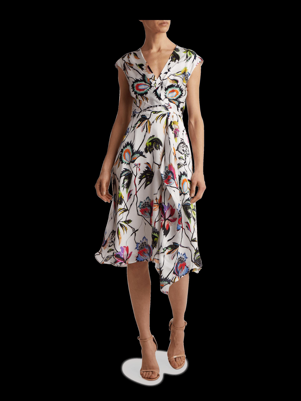 Clinkle Silk Crepon Printed V Neck Dress