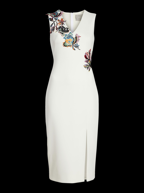 Crepe Embroidered V Neck Dress