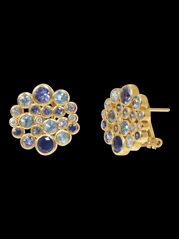 Multi-Stone Pointelle Cluster Earrings