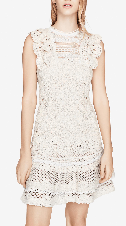 Macrame Ruffle Mini Dress