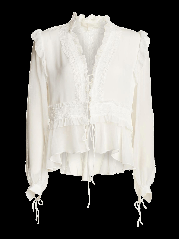 Mixed Trim Silk Long Sleeve Blouse