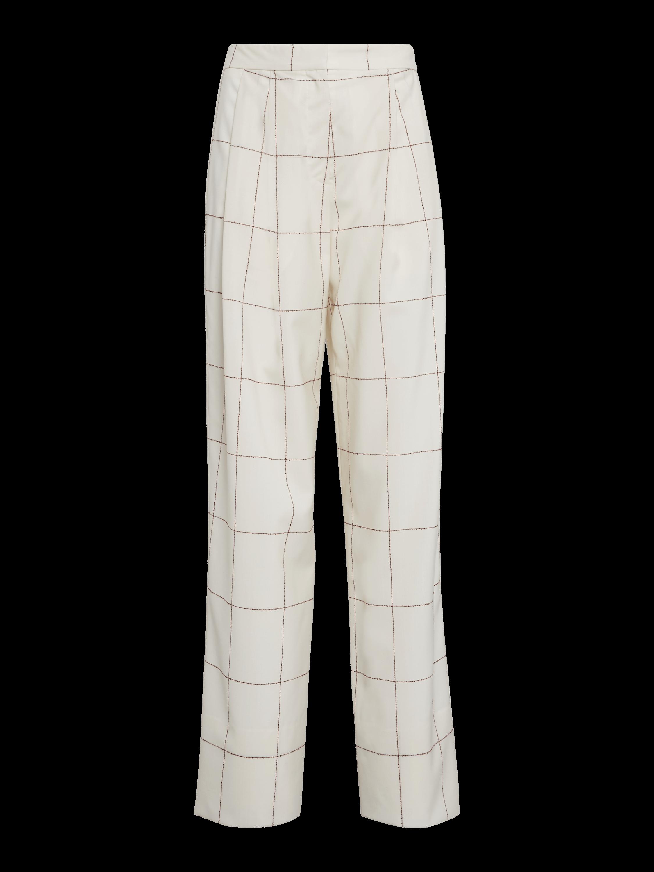 Windowpane Wool Pleat Front Trousers