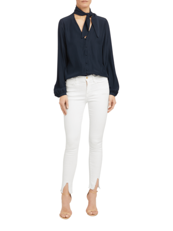 Le High Skinny Raw Front Split Jeans