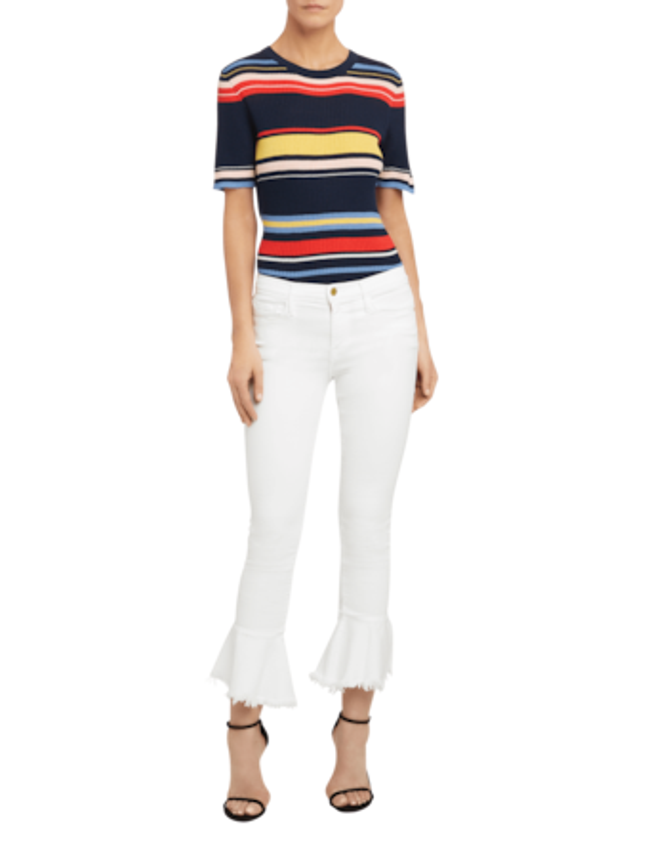 Le Skinny De Jeanne Flounce Raw Edge Jeans