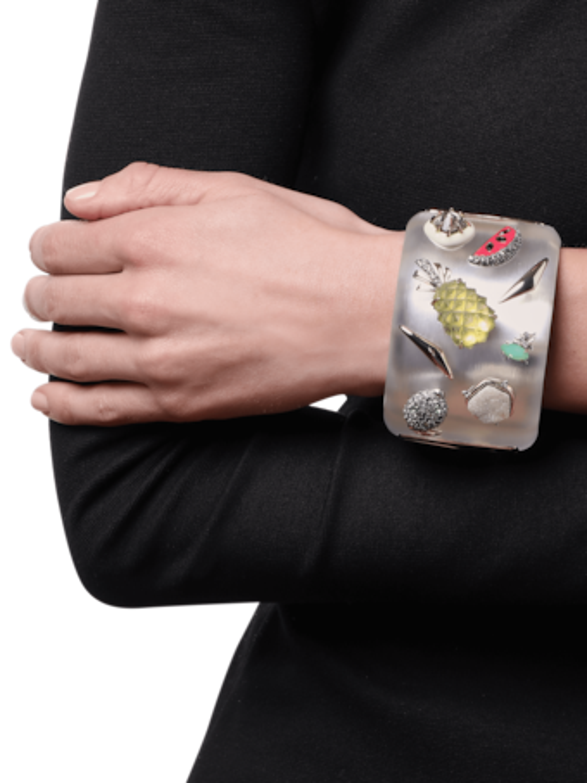 Fruit Studded Lucite Hinge Bracelet