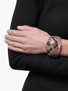 Domed Plaid Metal Medium Cuff
