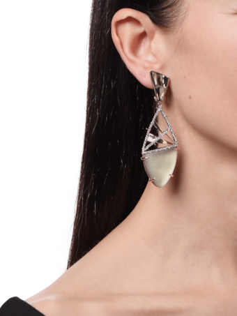 Lucite and Crosshatch Accent Clip Earrings