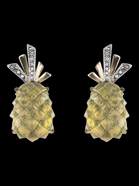 Lucite Pineapple Clip Earrings