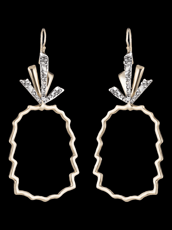 Crystal-Leaf Pineapple Wire Earrings