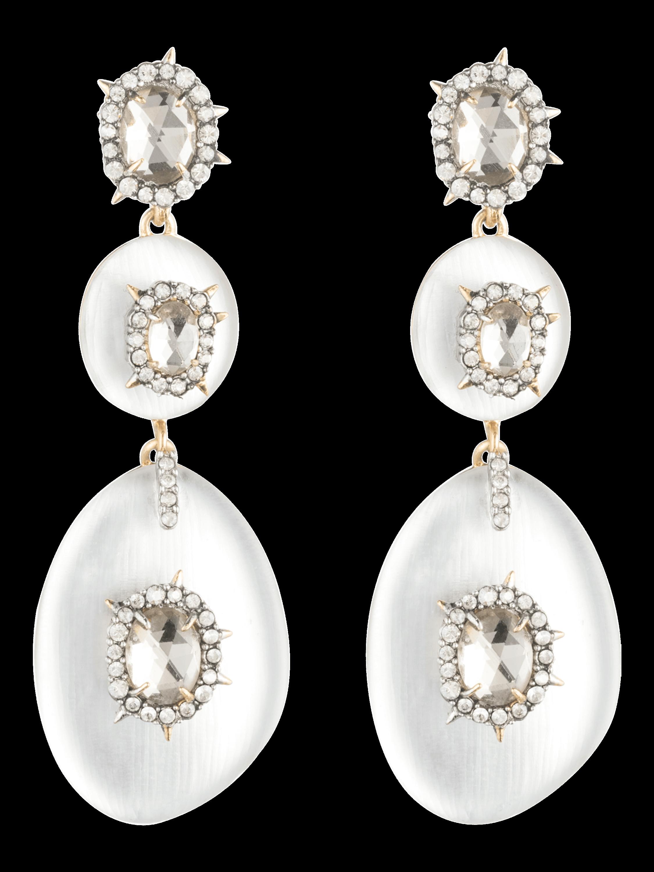 Lucite Triple Spike Bezel Post Earrings