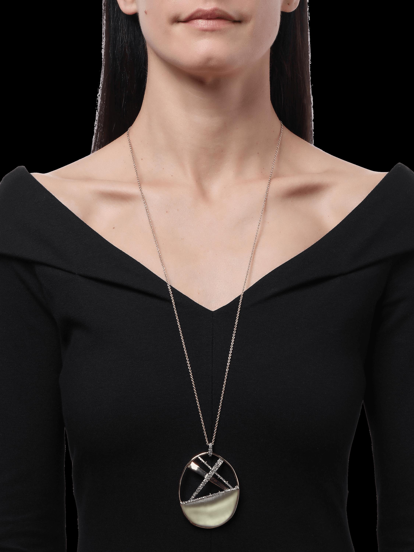 Crystal Encrusted Crosshatch Pendant Necklace