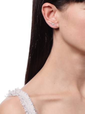 Pavé Lightning Bolt Single Ear Climber
