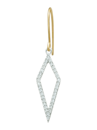 Long Open Pavé Single Diamond Earring