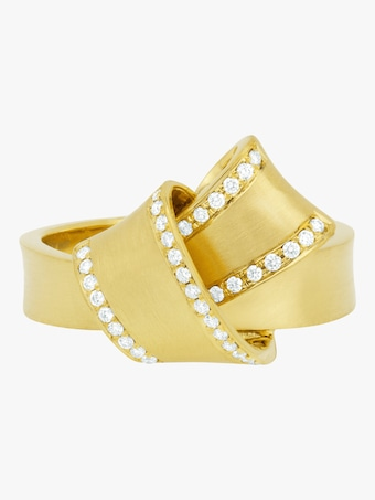 Carelle Jumbo Knot Diamond Trim Ring 2