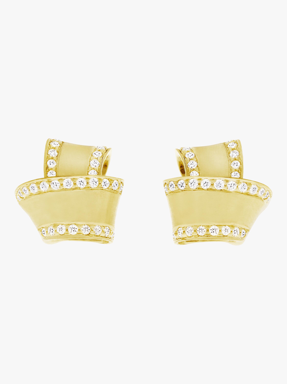 Carelle Knot Diamond Trim Stud Earrings 2
