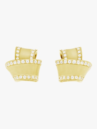 Carelle Knot Diamond Trim Stud Earrings 2