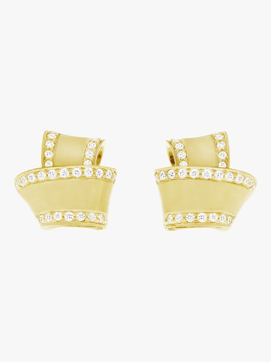 Carelle Knot Diamond Trim Stud Earrings 0