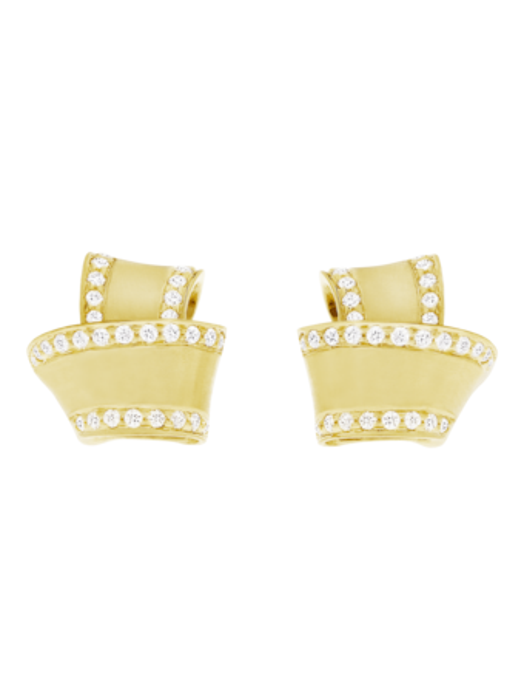 Knot Diamond Trim Stud Earrings