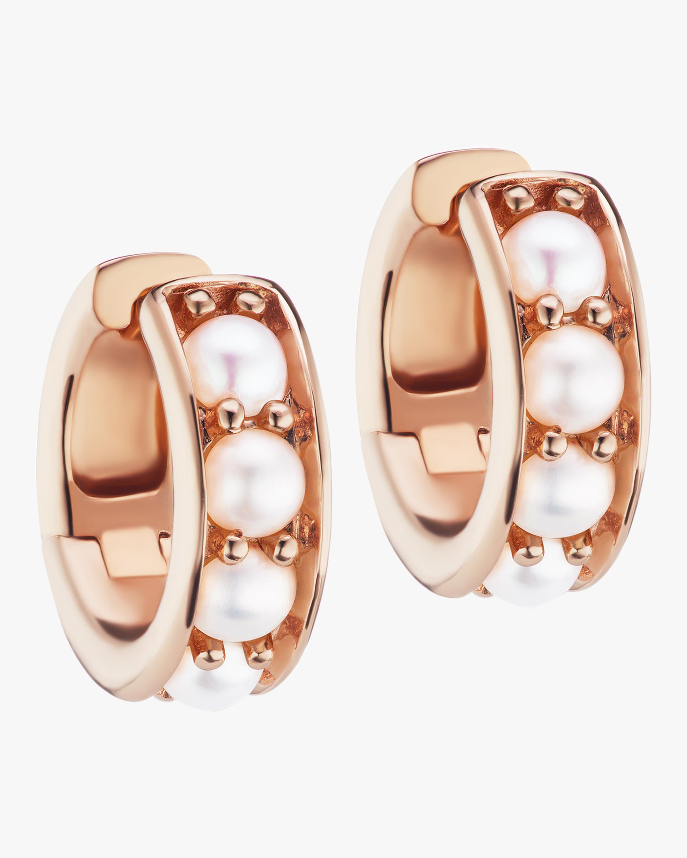 Rose Gold & Freshwater Pearl Chubby Hoop Earrings