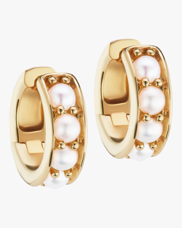 Gold & Freshwater Pearl Chubby Hoop Earrings