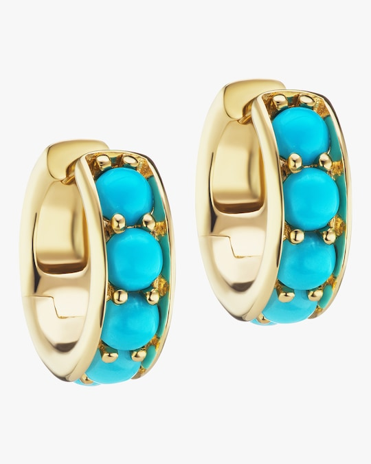 Jane Taylor Turquoise Chubby Hoop Earrings 0