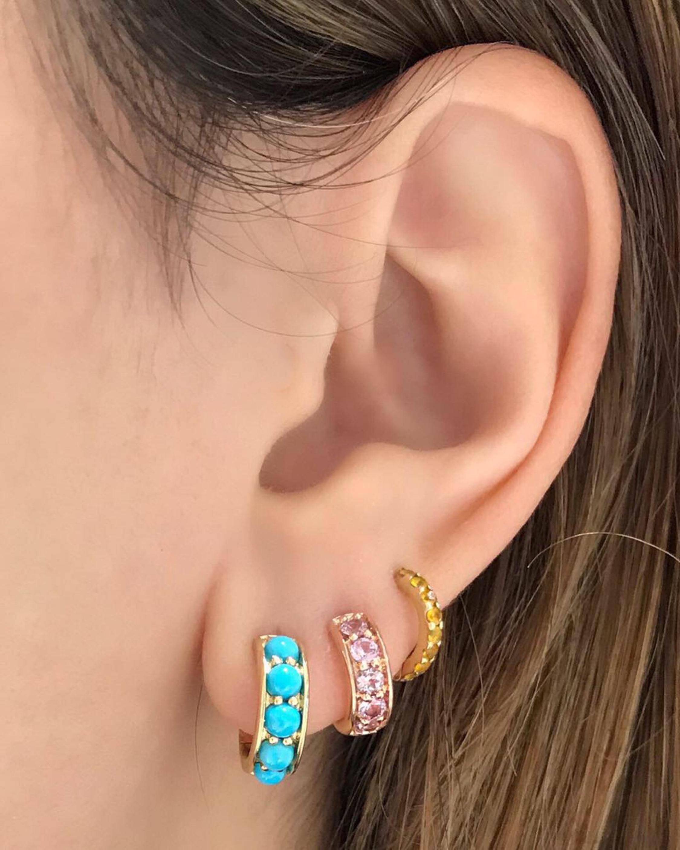 Turquoise Chubby Hoop Earrings
