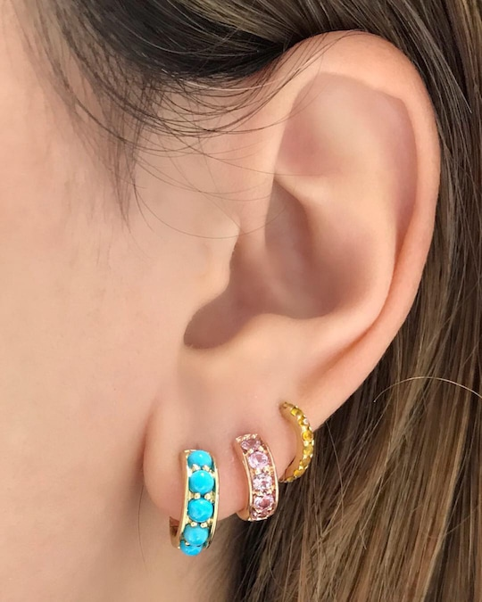 Jane Taylor Turquoise Chubby Hoop Earrings 1